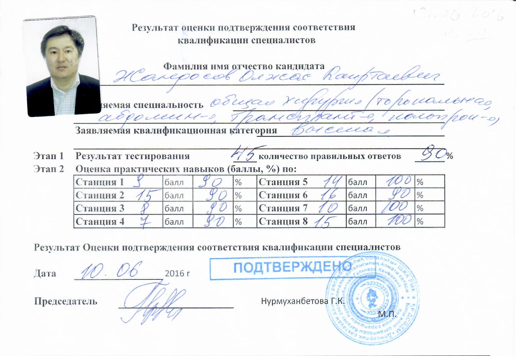 подтвержедение квалификации специалиста Олжас Жандосов